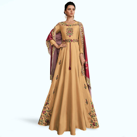 Beige Colored Partywear Embroidered Silk Abaya Style Anarkali Suit