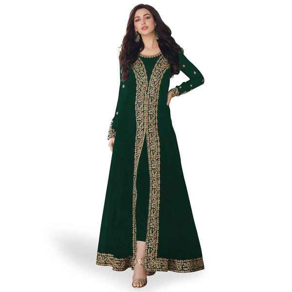 Green Colored Partywear Embroidered Georgette Anarkali Suit