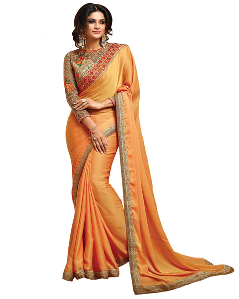 Graceful Yellow Designer Embroidered Georgette Saree