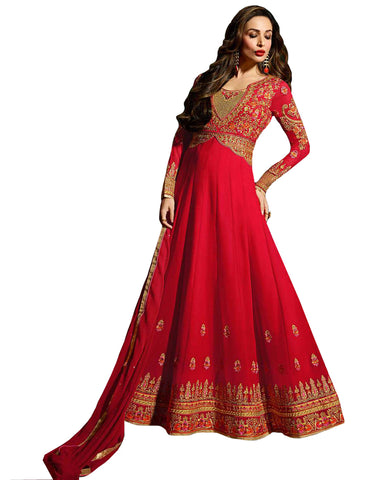 Red Colored Designer Embroidered Partywear Georgette Anarkali Suit