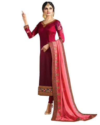 Maroon Colored Embroidered Work Party Wear Georgette Salwar Suit