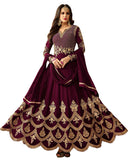 Purple Colored Designer Partywear Embroidered Georgette Anarkali Suit