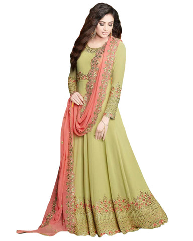 Pastel Green Colored Partywear Embroidered Georgette Anarkali Suit