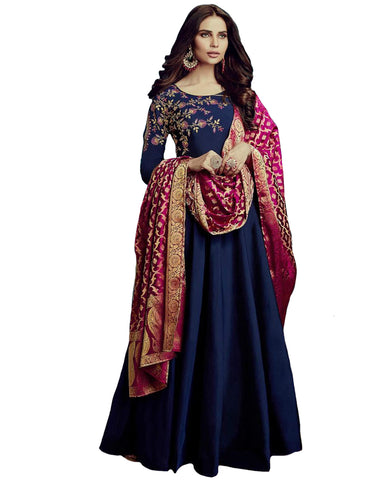 Navy Blue Colored Party Wear Embroidered Tapetta Silk Gown