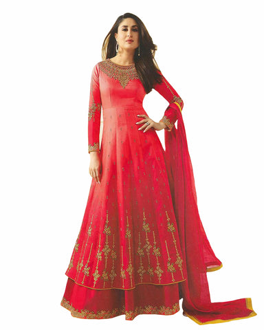 Red Designer Embroidered Georgette Abaya Style Anarkali Suit