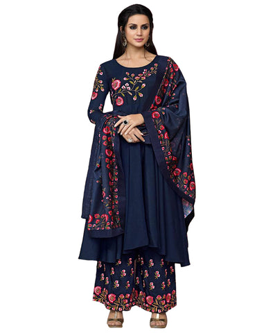 Navy Blue Colored Party Wear Embroidered Cotton Palazzo Suit