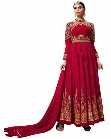 Red Designer Embroidered Georgette Anarkali Suit