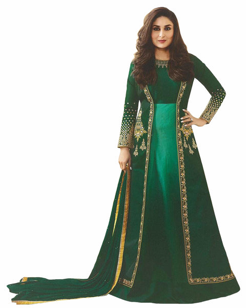 Green Designer Embroidered Georgette & Art Silk Abaya Style Anarkali Suit