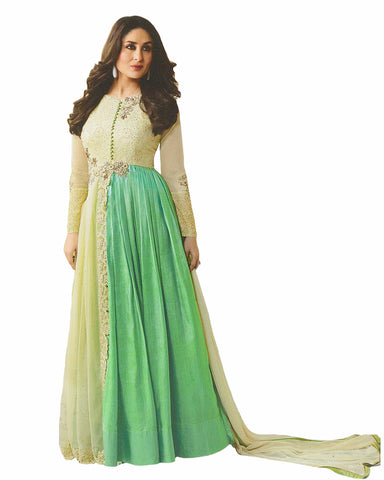 Cream- Sea Green Designer Embroidered Georgette Anarkali Suit