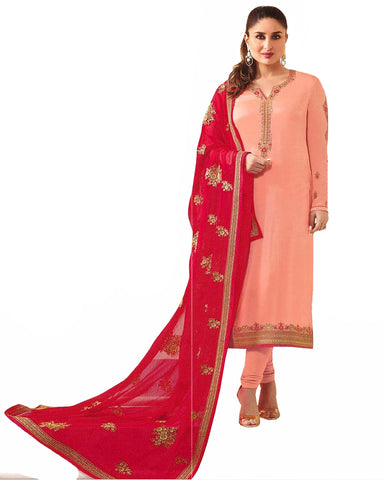 Peach Designer Embroidered Faux Georgette Straight Suit