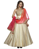 Cream Designer Partywear Hand Embroidered Art Silk Gown