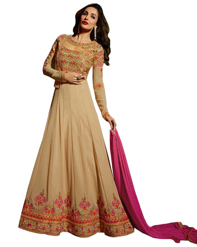 Beige Colored Designer Embroidered Partywear Georgette Anarkali Suit