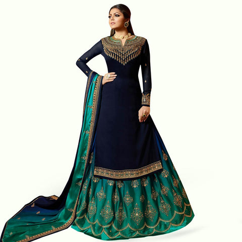 Navy Blue Colored Partywear Embroidered Satin Lehenga Kameez