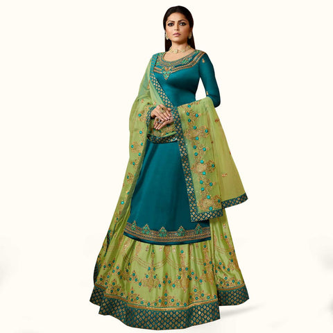 Rama Blue Colored Partywear Embroidered Satin Georgette Lehenga Kameez