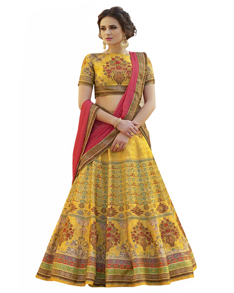 Yellow Digital Printed Lehenga Choli With Dupatta