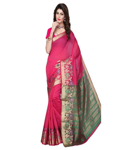 Pink Cotton Silk Weaving Work Saree