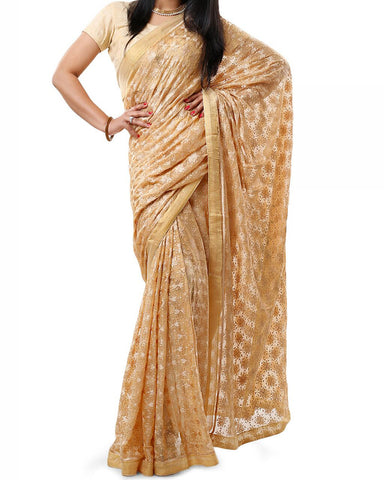 Beige Color Phulkari Saree