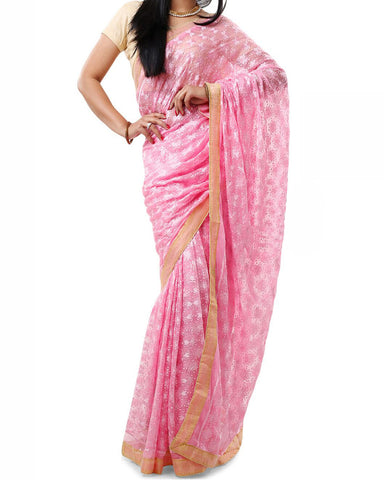 Pink Color Phulkari Saree