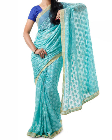 Sea Green Color Phulkari Saree