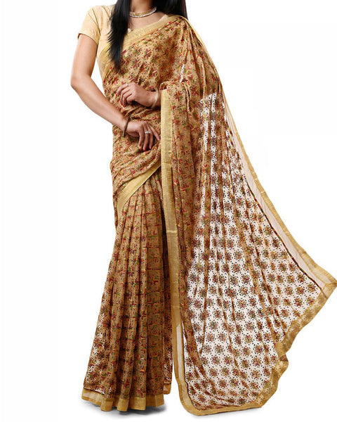 Beige Multi Color Phulkari Saree