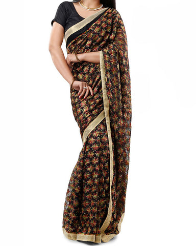 Black Multi Color Phulkari Saree