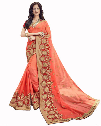 Designer Work  Dark Peach Color Saree