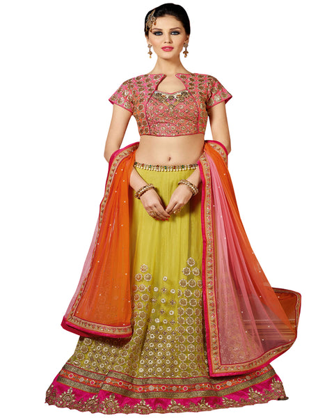 Designer Yellow Color lahenga