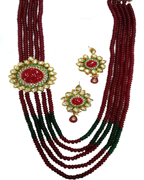 Green & Red Kundan Necklace Set
