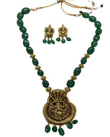Temple Jewellery Matte & Green Pearl Finished Necklace Set for Women