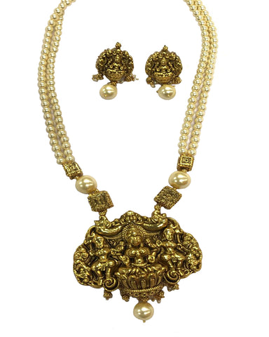 Temple -3 Jewellery Matte & White Pearl Finished Necklace Set for Women