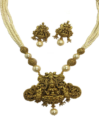 Temple-3 Jewellery Matte & White Pearl Finished Necklace Set for Women