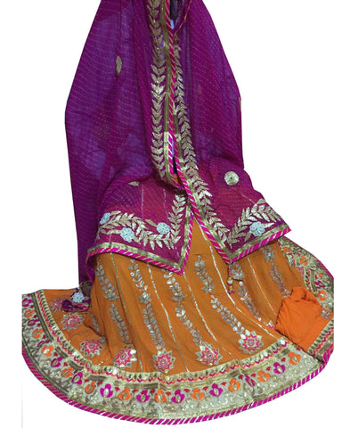 Narangi Color Ghoomar Dance Costume