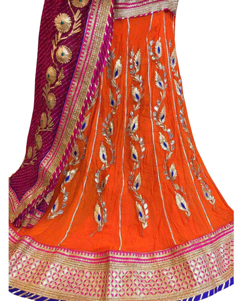 Orange Color Ghoomar Dance Costume
