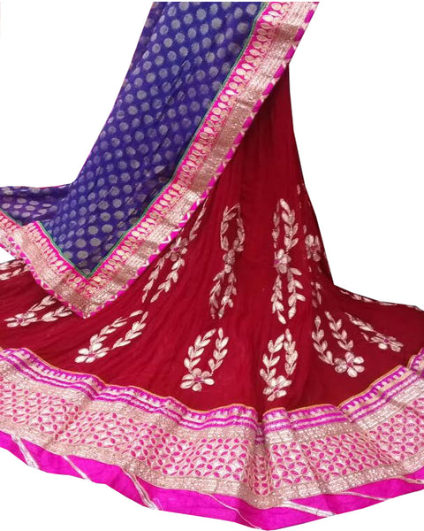 Maroon Color Ghoomar Dance Costume