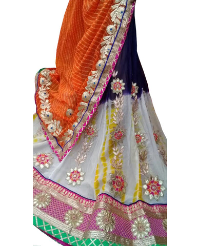 White Color Ghoomar Dance Costume