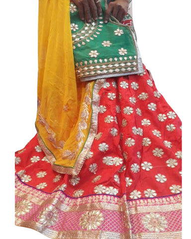 Red Color Ghoomar Dance Costume