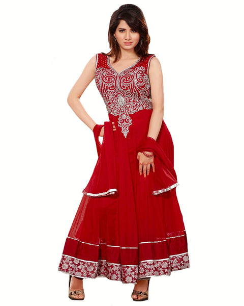 Designer Blood Red Long Length Anarkali Suit