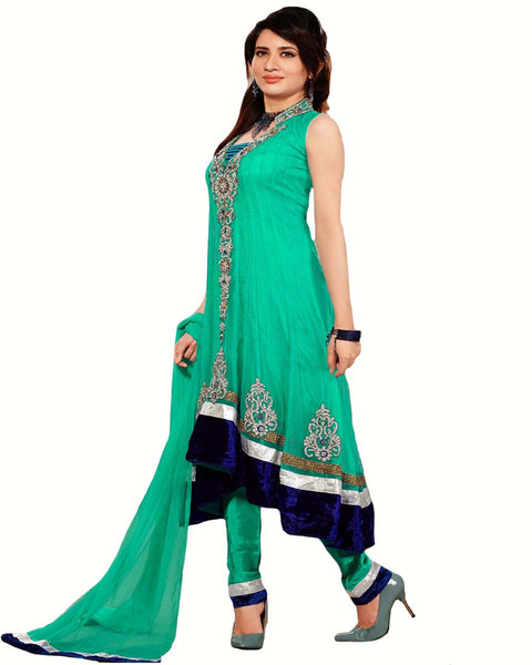 Designer Light Green Long Length Anarkali Suit