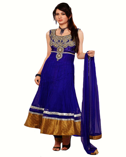 Designer Royal Blue Long Length Anarkali Suit