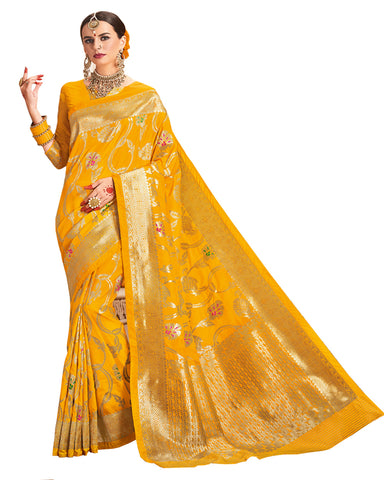 Yellow Color Dharmavaram Saree
