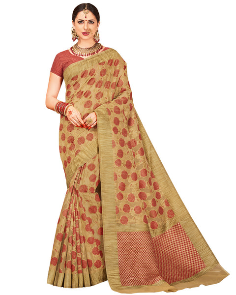 Gold Color chanderi Silk Saree