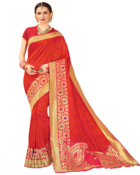 Orange Color Dharmavaram Saree
