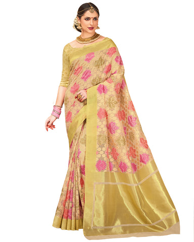 Cream Color Dharmavaram Saree