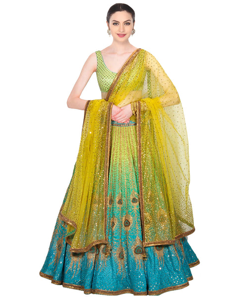 Designer lemon yellow/blue lahengha
