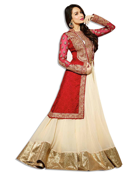 Red Beige Net Eembroidered Lahenga Suit