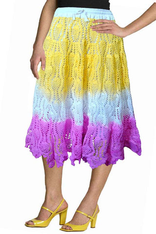 Tie and Dye Yellow Crochet Embroidered Skirt