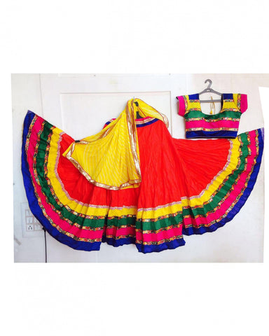 Dandiya Navratri Red & Multi Color Cotton Hand Worked Chaniya Choli