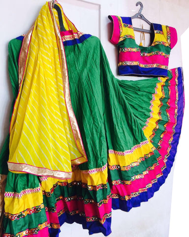 Dandiya Navratri Green & Multi Color Cotton Hand Worked Chaniya Choli