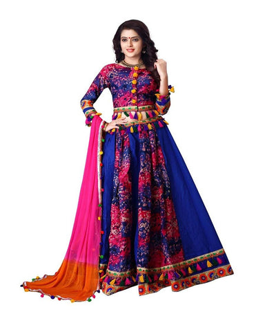 Navratri Special Blue Cotton Print Worked Chaniya Choli