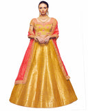 Yellow Brocade Designer Lehenga Choli With Zari Weaving